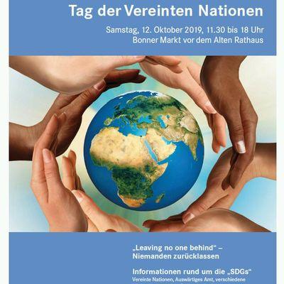 Flyer Tag der Vereinten Nationen 2019 in Bonn UN Hilfe zur Selbsthilfe in Indien und Bangladesch