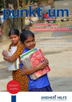 Titelbild Magazin punkt um. Indische Mädchen gehen zur Schule