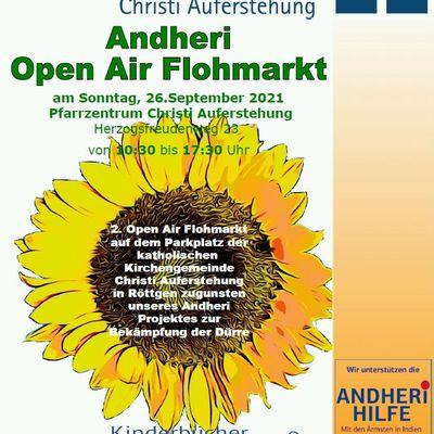 Plakat für Open Air Flohmarkt mit Sonnenblume